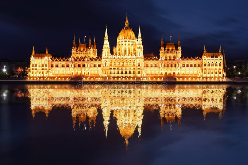 Boedapest - Hongaarse bezinning parliament.with binnen stock afbeelding