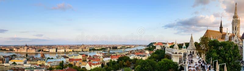 Boedapest, Hongarije - Augustus 16, 2018: Panorama van Boedapest royalty-vrije stock afbeeldingen