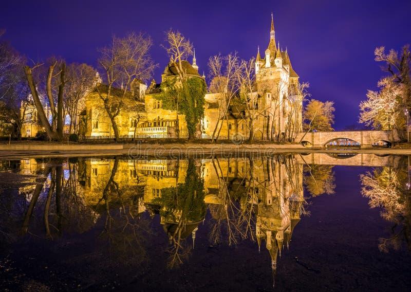 Boedapest, Hongarije - het mooie Vajdahunyad-Kasteel met bezinning in het Stadspark stock foto's