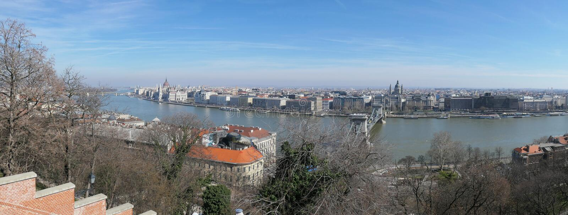 Boedapest panorama over de opvattingen van het parlementsgebouw royalty-vrije stock fotografie