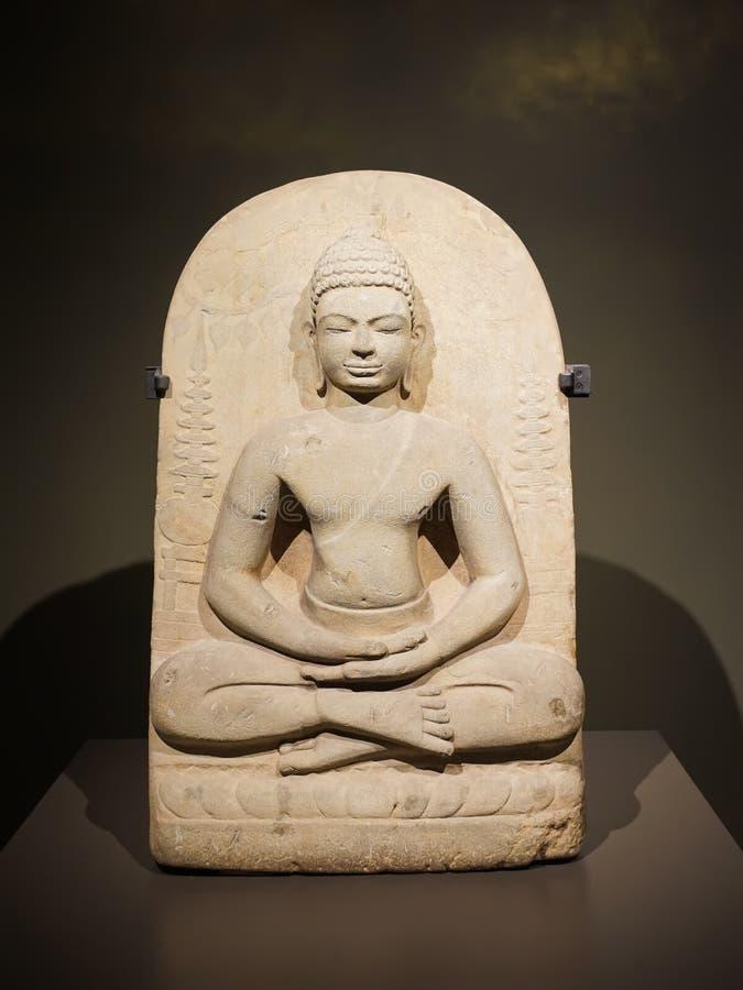 Boeddha in Mediation Posture of The Awakening Dvaravati art 1.100-1.200 jaar BP stock foto
