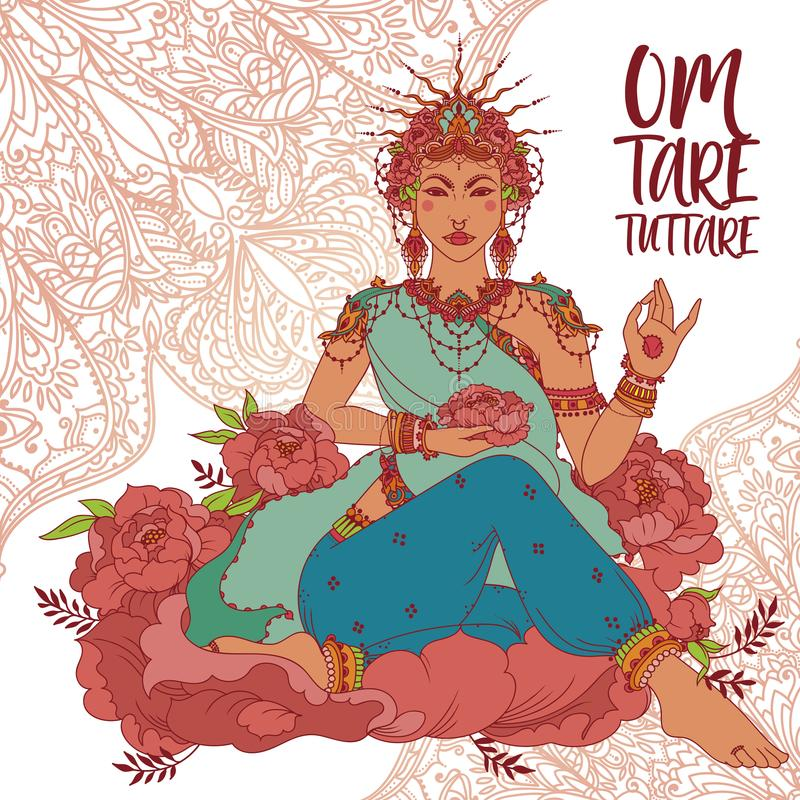 Boeddhisme goddes Tara vector illustratie