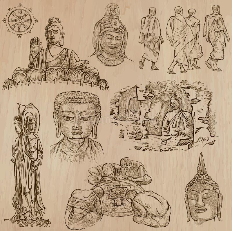 Boeddhisme - schetsen het Uit de vrije hand, vectorpak royalty-vrije illustratie
