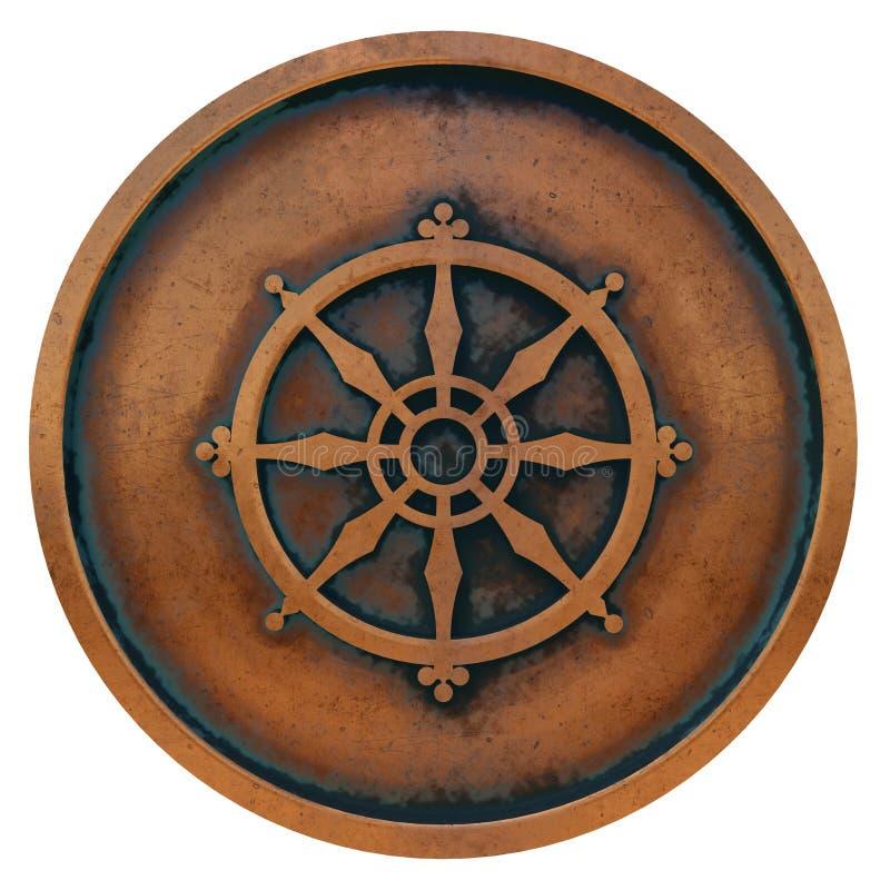 Boeddhismesymbool op het muntstuk van het kopermetaal stock foto