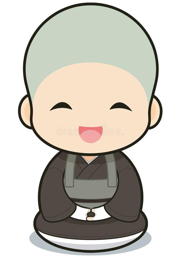 Boeddhistisch kloosterwezenbeeldverhaal royalty-vrije illustratie