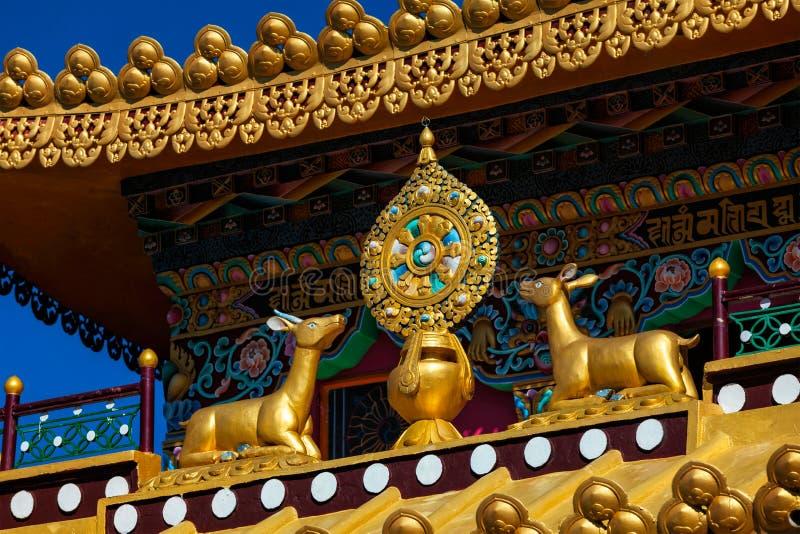 Boeddhistisch Wiel van de Wet op klooster, India stock foto's