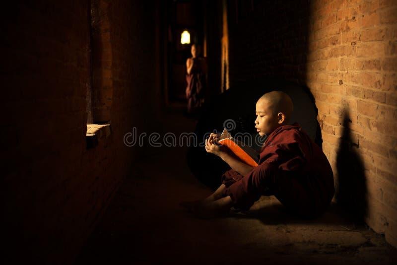Boeddhistische beginnerlezing royalty-vrije stock foto's