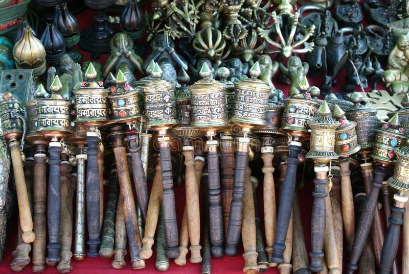 Boeddhistische gebedwielen royalty-vrije stock afbeelding
