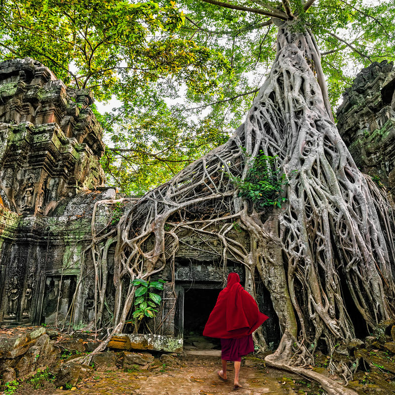 Boeddhistische monnik in Angkor Wat De stad in van Siem oogst, Kambodja stock foto's