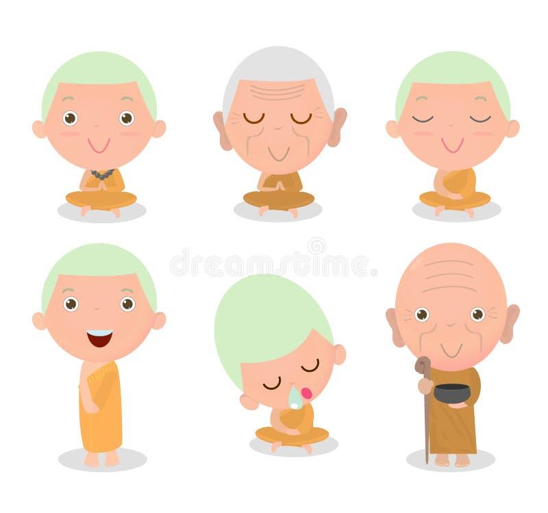 Boeddhistische Monnik Character, Boeddhistisch Monniksbeeldverhaal, Monniksreeks, Thaise monniken, Chinese monniken, monnikszitti vector illustratie