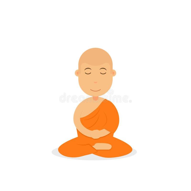 Boeddhistische monnik in het oranje robes bidden royalty-vrije illustratie