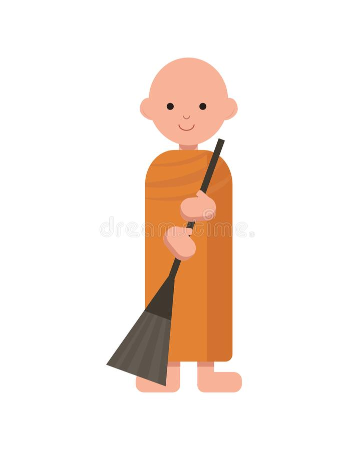 Boeddhistische monnik in oranje robes vector illustratie