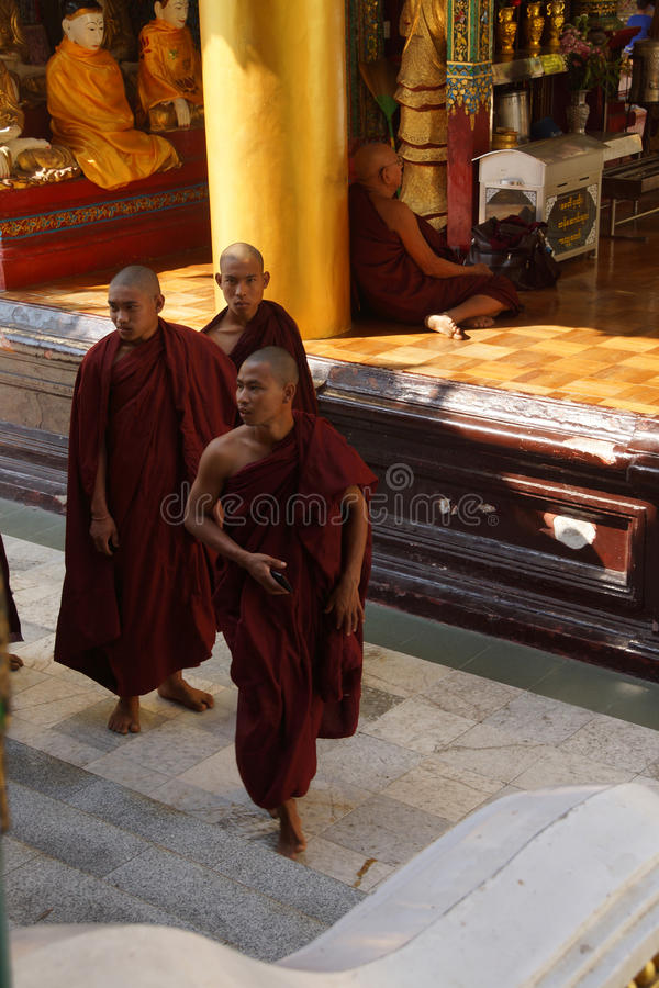 Boeddhistische monniken bij Shwedagon-Pagode stock foto's