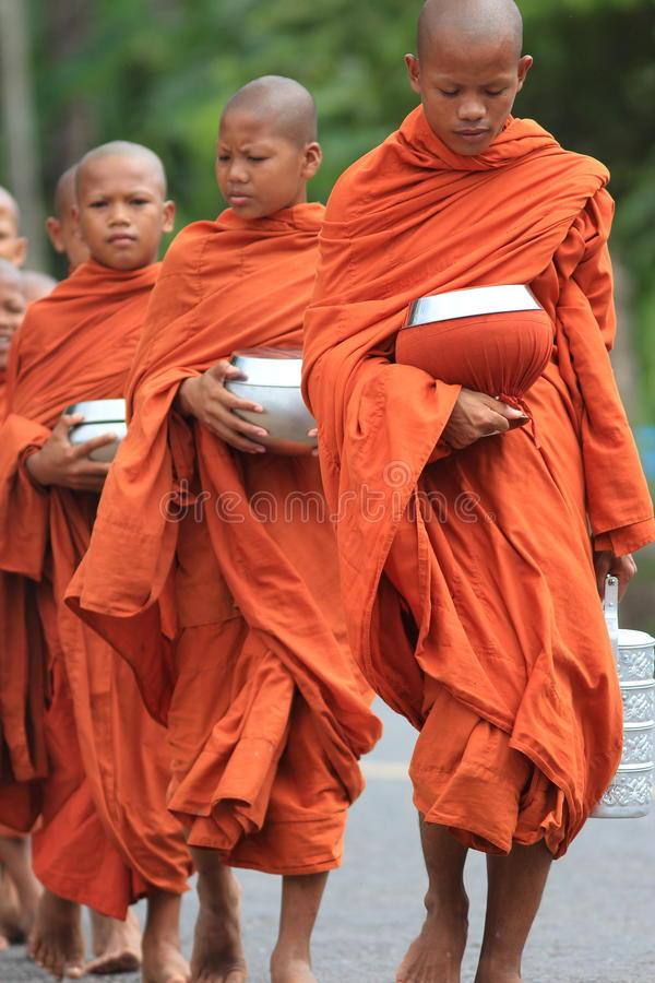 Boeddhistische monniken die voedselkommen, Kambodja dragen royalty-vrije stock foto's