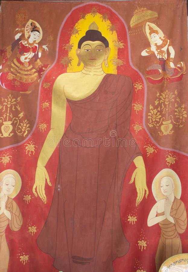 Boeddhistische schilderijen stock foto