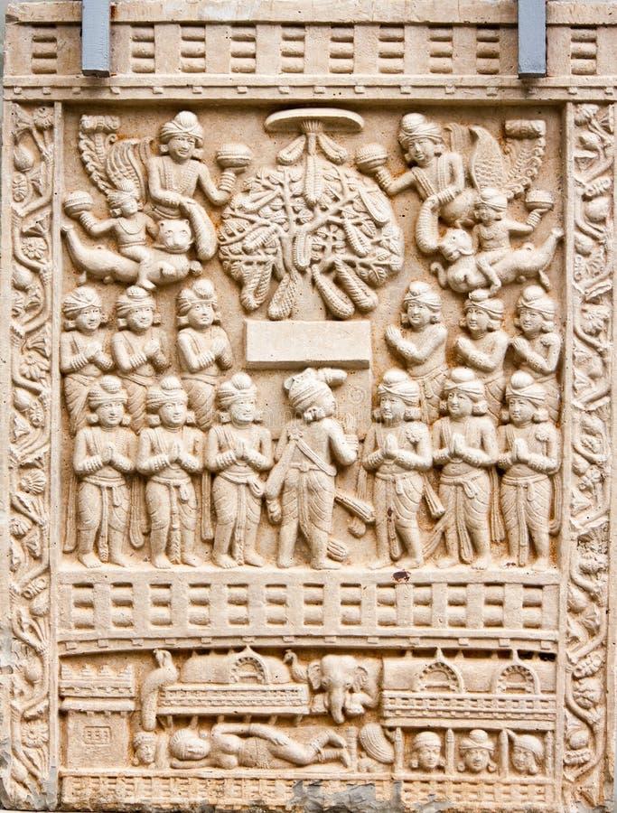Boeddhistische steengravure royalty-vrije stock afbeelding