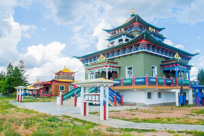 Boeddhistische tempel in datsan Ivolginsky royalty-vrije stock afbeeldingen