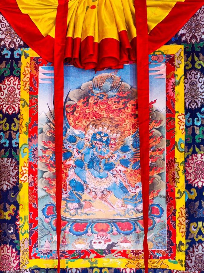 Boeddhistische thangka, het Tibetaanse Boeddhistische schilderen op katoen, of zijde a royalty-vrije stock afbeeldingen