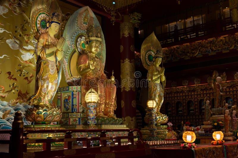 Boedha in de Tempel van het Tandoverblijfsel in de Stad van China, Singapore stock fotografie