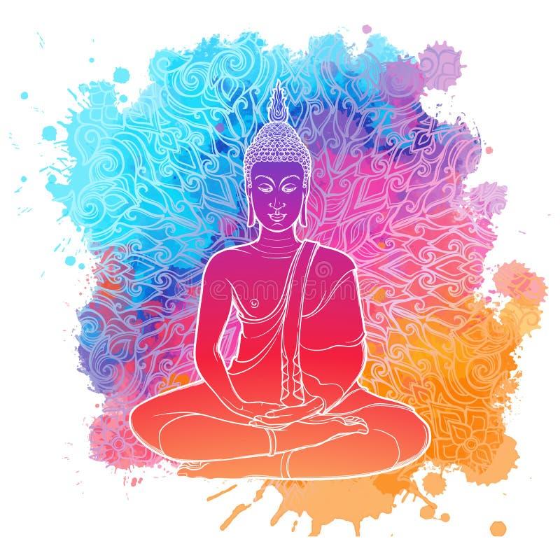 Boedha die in de enige lotusbloempositie mediteren lineaire die tekening op een heldere geweven waterverfvlek wordt geïsoleerd me royalty-vrije illustratie