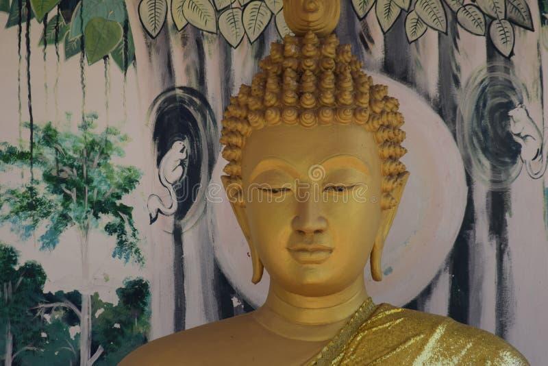 Boedha-hoofd dichte omhooggaand royalty-vrije stock afbeelding