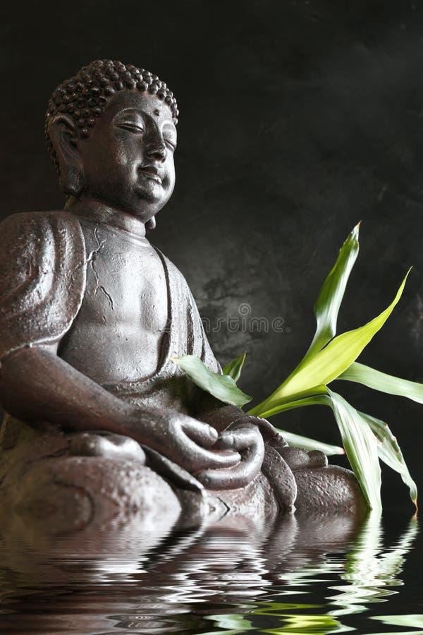 Boedha in meditatie met bamboe en water royalty-vrije stock foto