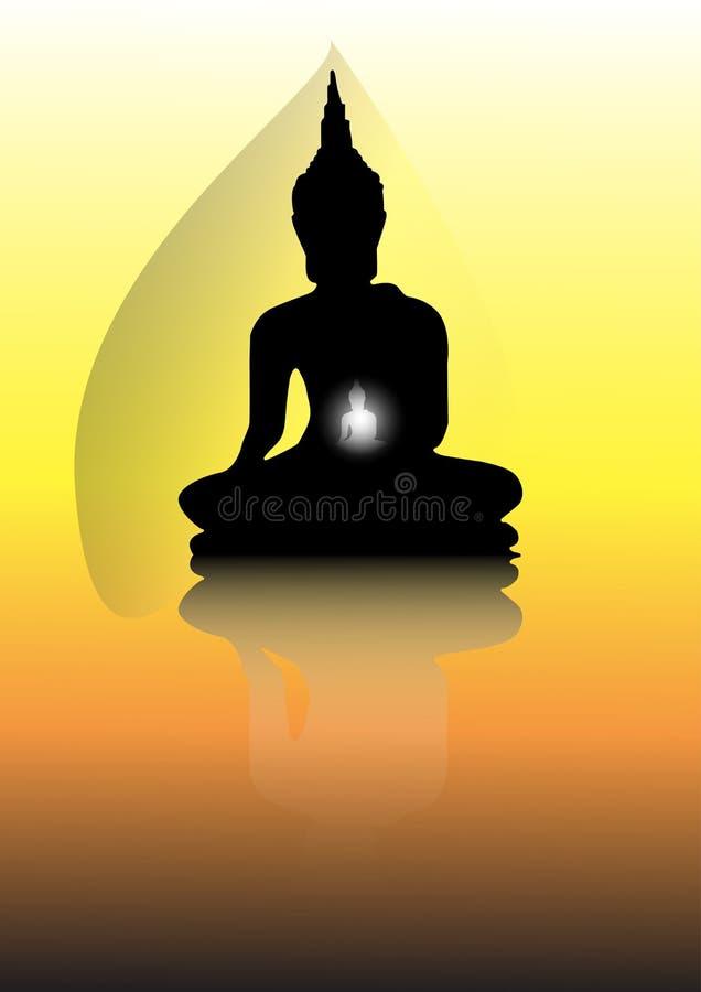Boedha met gouden achtergrond vector illustratie