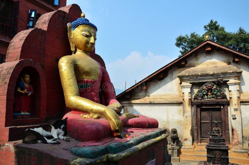 Boedha van Swayambhunath-Tempel of Aaptempel in Katmandu Nepal royalty-vrije stock foto
