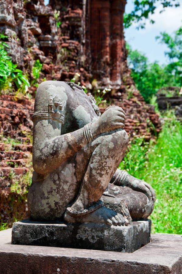 Boedha zonder hoofd, Mijn Zoon, Vietnam royalty-vrije stock foto