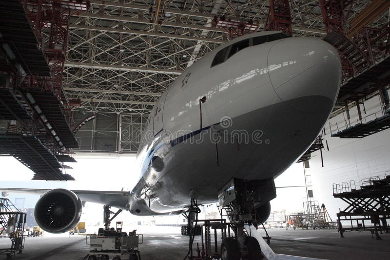 Boeing 767 С-check. Boeing 767-300 on the C-Check royalty free stock photography