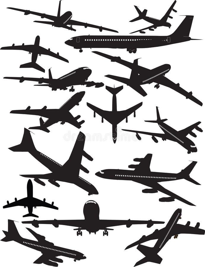 Boeing 707 σκιαγραφίες διανυσματική απεικόνιση