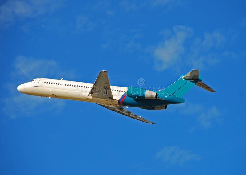 Boeing 717 jet taking off stock photos