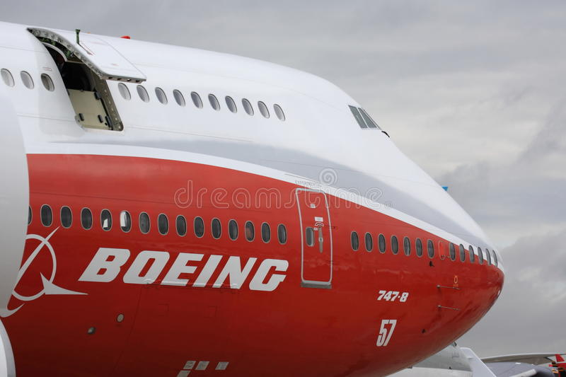 Boeing 747-8 at Paris Air Show. Close-up of front section of the new Boeing 747-8 at the 2011 Paris Air Show at le Bourget stock photo