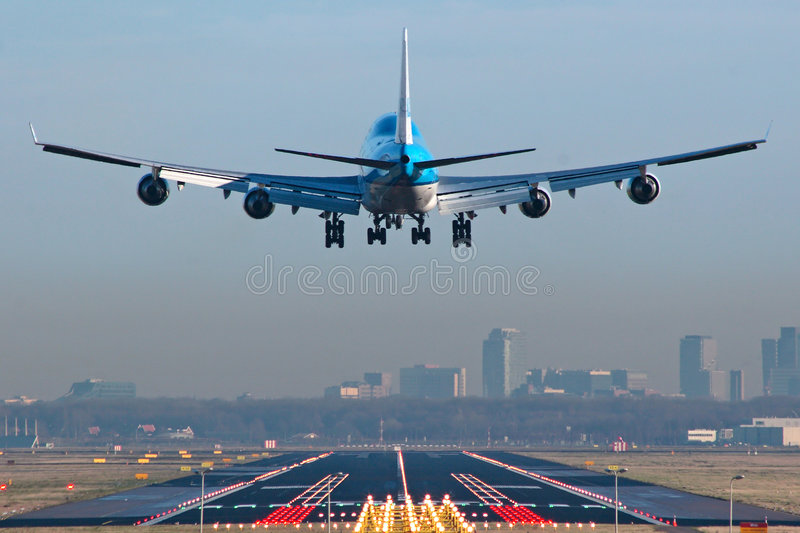 Download Boeing 747 Airplane About To Touchdown Stock Image - Image: 483205