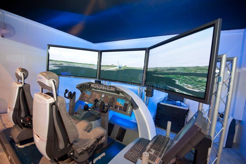 Boeing 787 Dreamliner flight simulator at Singapore Airshow 2014 stock photo