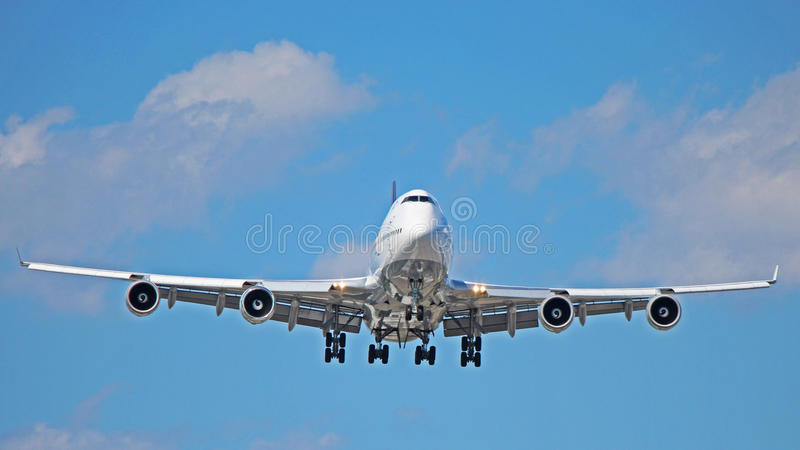 Boeing 747-400. A Boeing 747-400 aircraft on final approach to Toronto Pearson International Airport YYZ stock photos