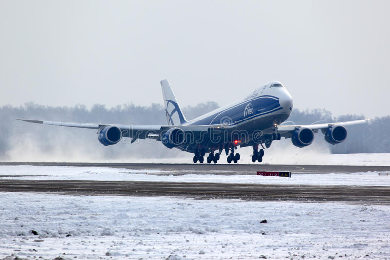 Boeing B-747-800 VQ-BLQ of Air Bridge Cargo airlines taking off at Domodedovo international airport. Domodedovo, Moscow Region, Russia - February 11 2012 stock photos
