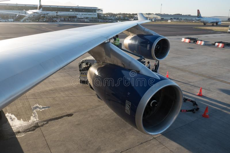 Boeing 747 from British Airways at Cape Town International Airport royalty free stock images