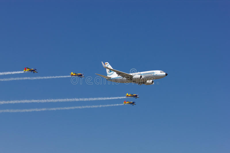Boeing 737 at Bucharest International Air Show royalty free stock photography