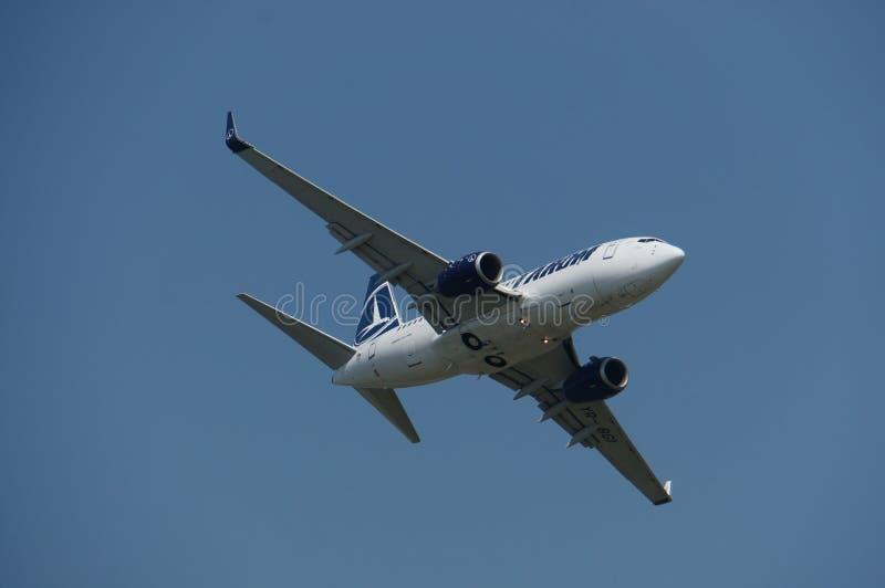 Boeing 737 at Bucharest International Air Show 2013 stock photos