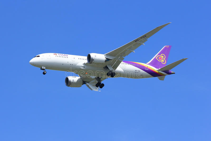 Boeing 787-800. CHIANGMAI , THAILAND - SEPTEMBER 10 2014: Boeing 787-800 Dreamliner HS-TQA of Thaiairway.First of 787 for Thaiairway.Photo shot of landing to stock image