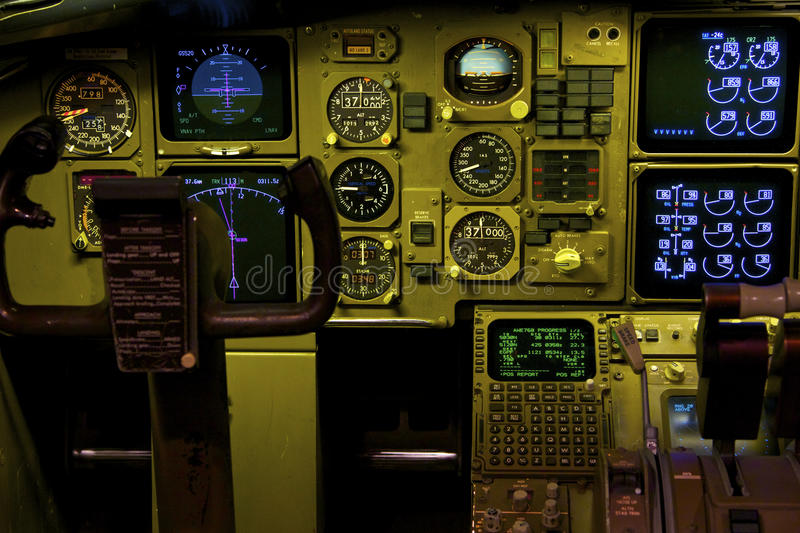 Boeing 757 Cockpit. And instruments royalty free stock photos