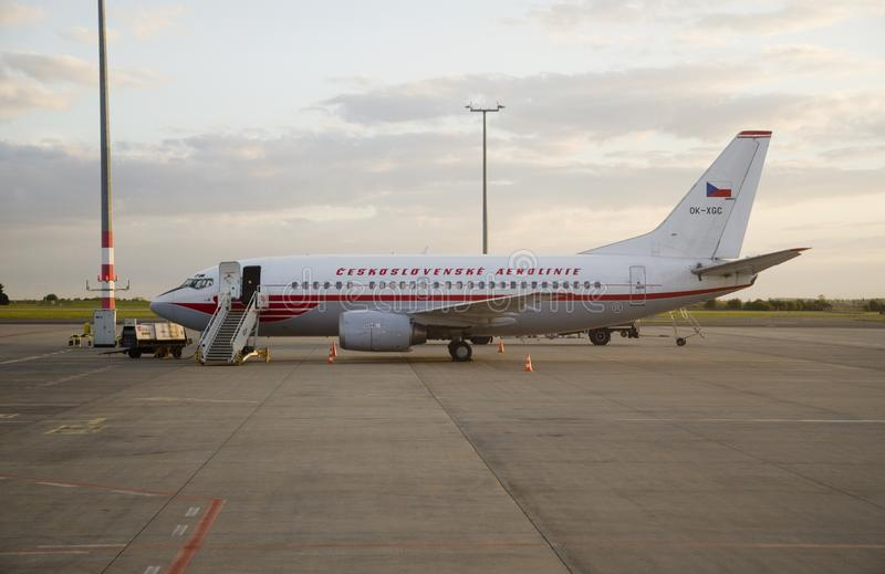 Boeing 737 in Czechoslovakia airlines retro style. Boeing 737 of Czech Airlines at Prague airport designed in retro style like Czechoslovakia airlines stock photography