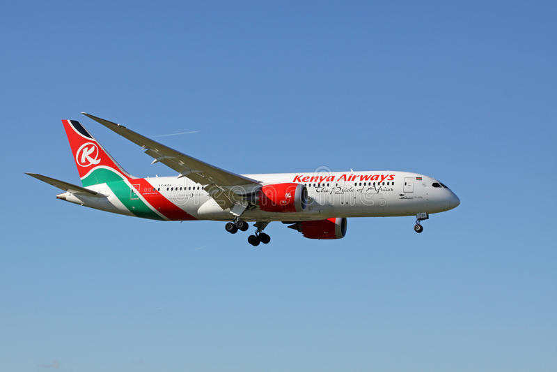Boeing 787 Dreamliner από τους εναέριους διαδρόμους της Κένυας στοκ φωτογραφία