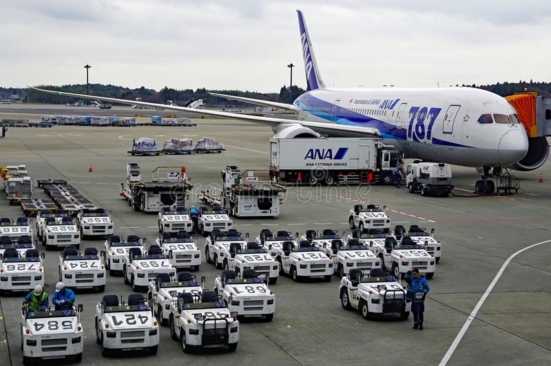 A Boeing 787 Dreamliner airplane from the Japanese airline All Nippon Airways (ANA) royalty free stock photos