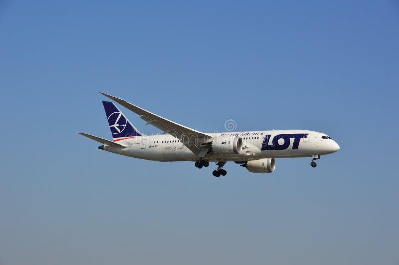 Boeing 787-8 Dreamliner - LOS Fluglinienfläche stockbild