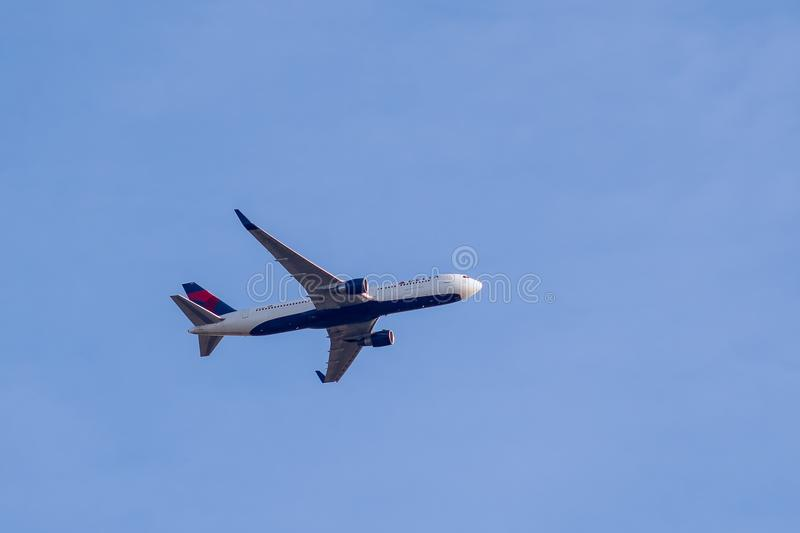 Boeing 767-332 ER from Delta Air Lines in flight stock image