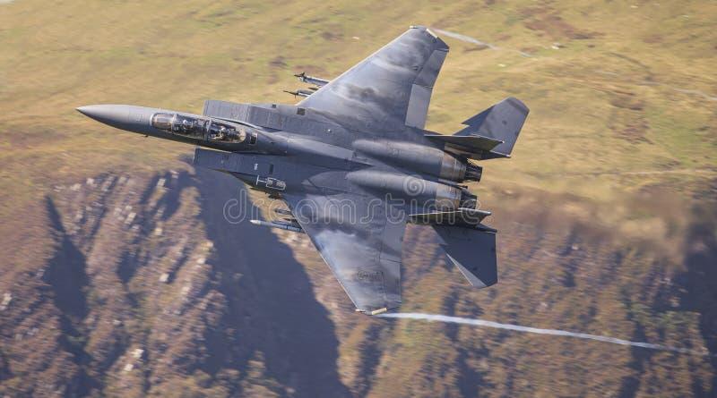 USAF F15-E Strike Eagle - Low Level royalty free stock photography