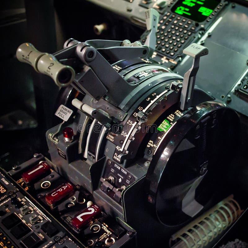 Boeing 737 gaspedaalkwadrant stock afbeelding