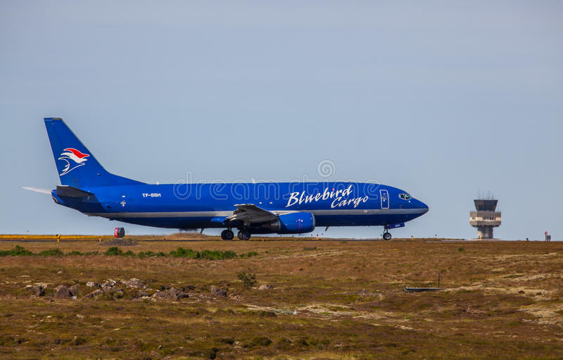 Boeing 737-400. Image of a Boeing 737-400 from Bluebird Cargo at KEF airport in Iceland stock image